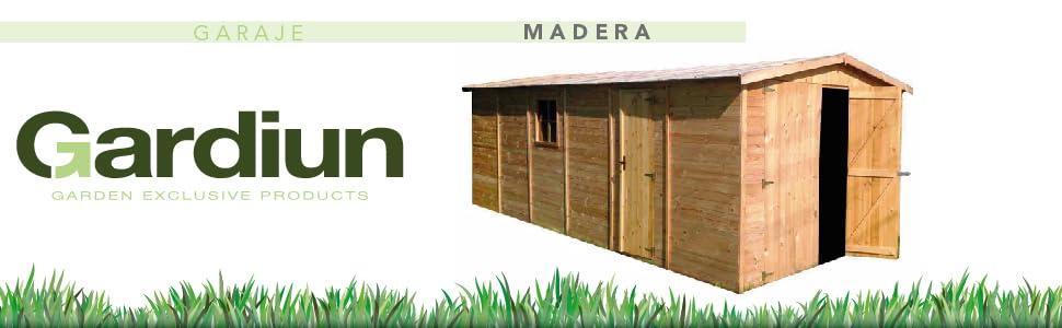 Garaje de Madera Vladimir 13, 24 m² Exterior 320x418x188/246 cm ...