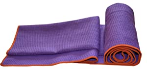 Equanimity PRO Yoga Towel Mat, Purple, 100% Silicone Mat with 100% Premium Microfiber Towel, Extra Long Mat Size 72
