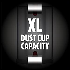 The extra-large dust cup will offer constant performances