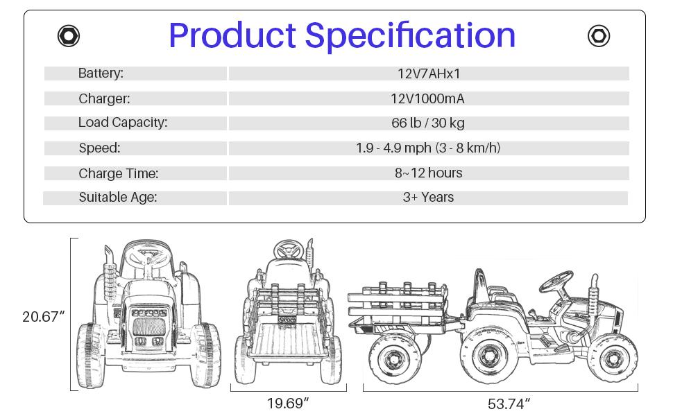 Reproductor de MP3 METAKOO Tractor El/éctrico con Remolque Motores de 35W y Rueda EVA Control Remoto USB Bocina Bluetooth 2+1 Cambio de Marchas Azul Faros de 7 LED Tractor de Bater/ía 12V 7Ah