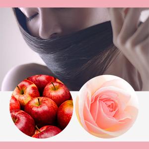 幸せを引き寄せる、もぎたてりんごとバラの花をブレンドした女性らしい香り。