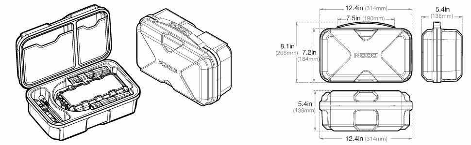 Dimensions of GBC014 Protective Case