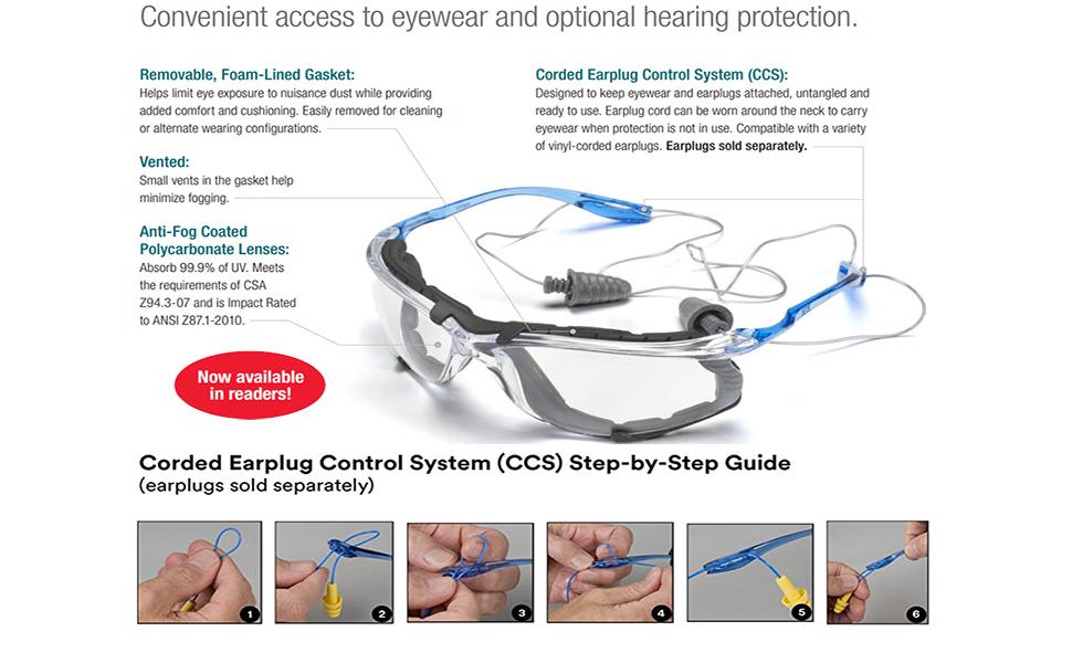 3M 11872 Virtua CCS Protective Eyewear Anti Fog Lens Foam Gasket 2 Pk. Clear