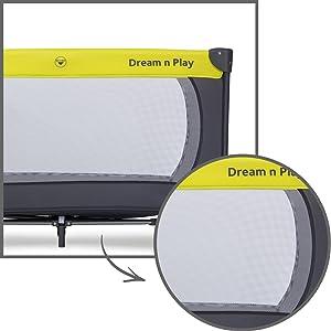 große Seitenfenster jederzeit im Blick Netzstoff hauck Kinderbett Laufgitter Luftzirkulation