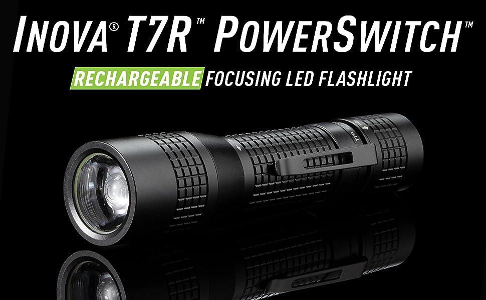 inovca T7R, tactical flashlight, rechargeable, focusing beam