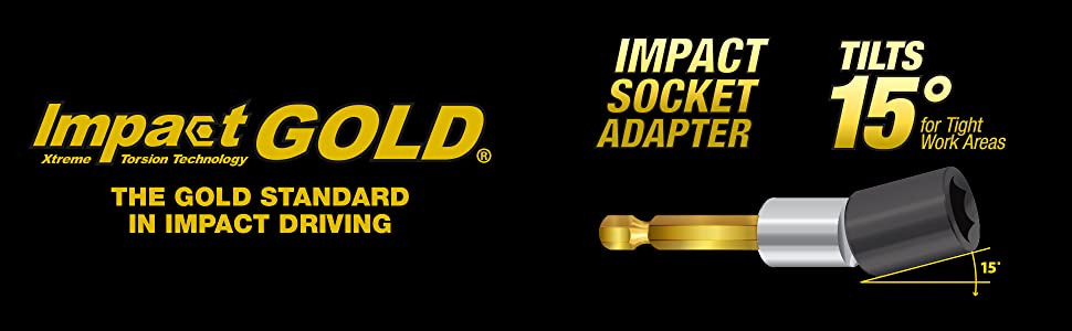 impact gold xtreme torison technology socket adapter tilts 50 degrees tight work areas standard