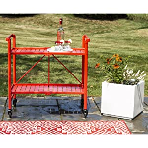 painted red cart drink drinks outdoor party white planter backyard back yard