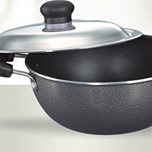 PRESTIGE Non-Stick Flat Base Kadai with Lid
