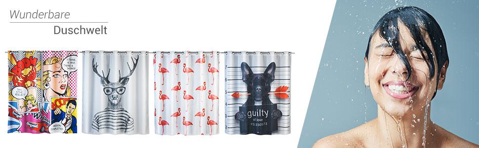 wasserabweisend mit 12 Duschvorhangringen 180 x 200 cm Wenko 22492100 Duschvorhang Cool Dog mehrfarbig 100/% Polyester waschbar