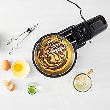 Moulinex Oh My Cake QA1108 Robot de repostería 300 W, movimiento planetario, bol de acero inoxidable de 4 L, 5 velocidades, 2 varillas, 2 ganchos de ...