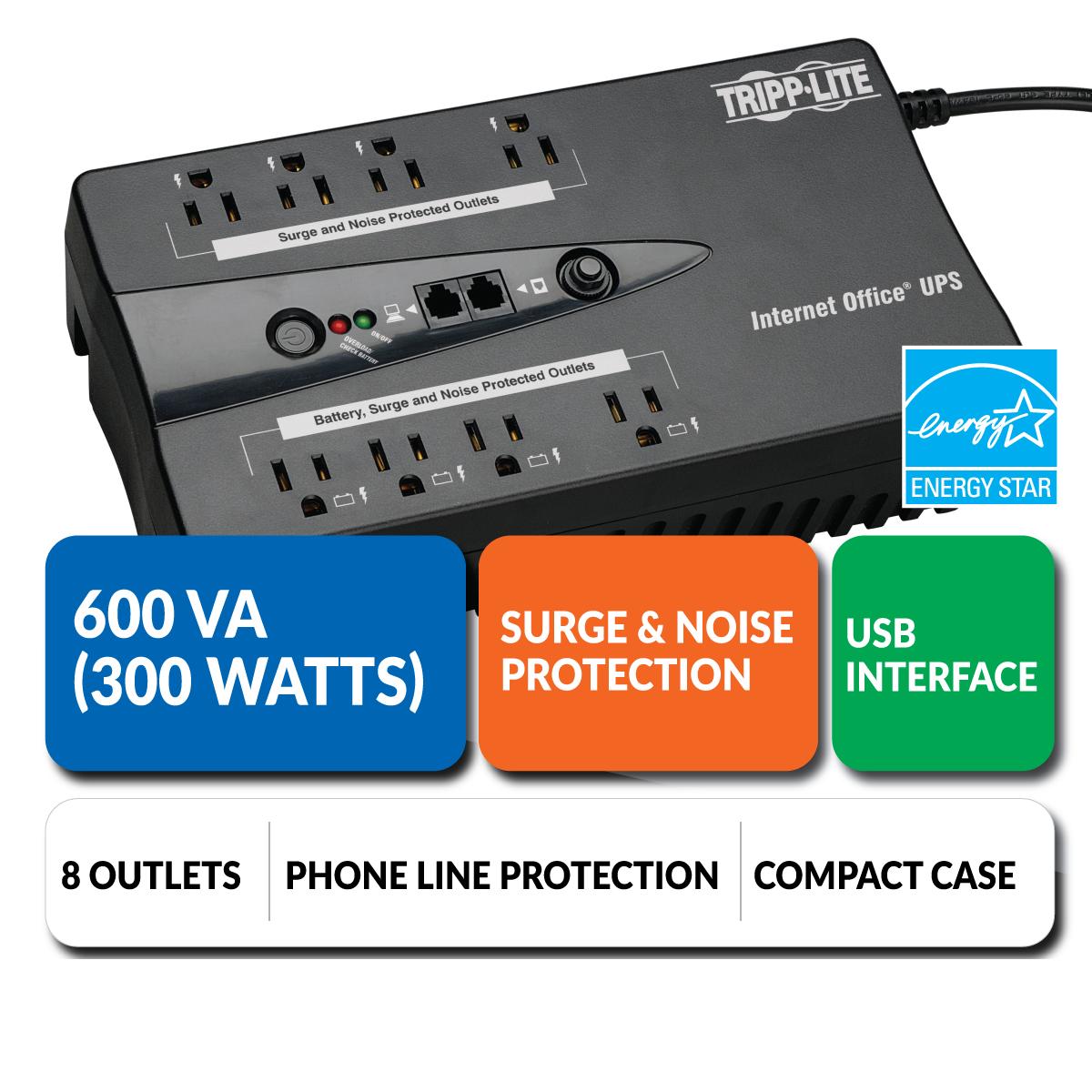 Amazon.com: Tripp Lite 600VA UPS Desktop Battery Back Up, 8 Outlet ...