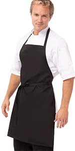 Chef Works Bib Apron, Black, One Size