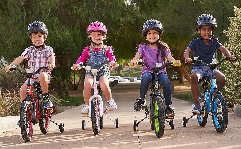 Kids Bike with Training Wheels Red Pink Blue Black Green