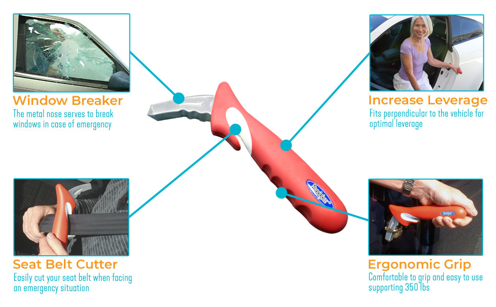 Car Window Breaker Mobility Aid Assist Handle Safety Equipment Seat Belt Cutter