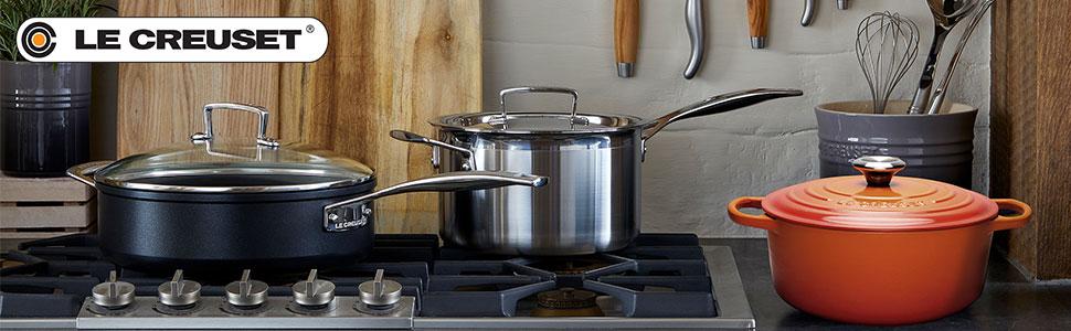 Le Creuset Sartén baja de aluminio antiadherente, Ø 30 cm, libre de PFOA, para todas las fuentes de calor, incluso la inducción, antracita/plateado