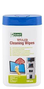 D.RECT Lot de 100 chiffons de nettoyage dans un distributeur - Pour : Écran TFT/LCD pour ordinateur portable, tablette.