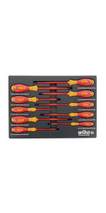 """Wiha 31192 Stubby Phillips Screwdriver Set with #1 and #2 by 1/"""""""