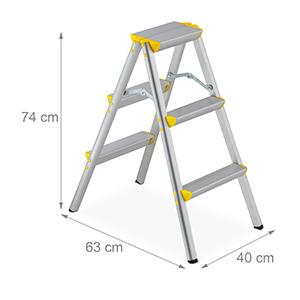 Relaxdays Escalera Plegable Aluminio, Escalerilla Tijera Doméstica, hasta 150 kg, 3 Peldaños, Plateado y Amarillo: Amazon.es: Hogar