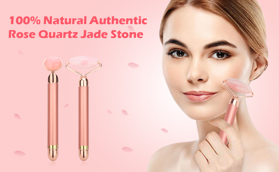 2-IN-1 Electric Jade Roller Face Massager - Natural Rose Quartz Roller and Vibrating Facial Roller Massager for Eye, Face, Neck, Body - Anti Aging ...