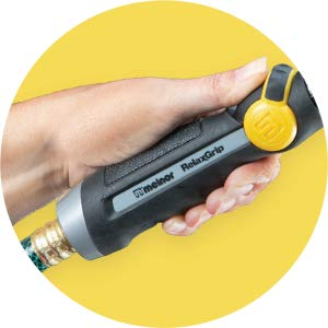 Close up of the Melnor Relax Grip handle in someone's hand