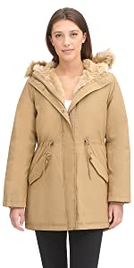 Faux Fur Lined Hooded Parka Jacket