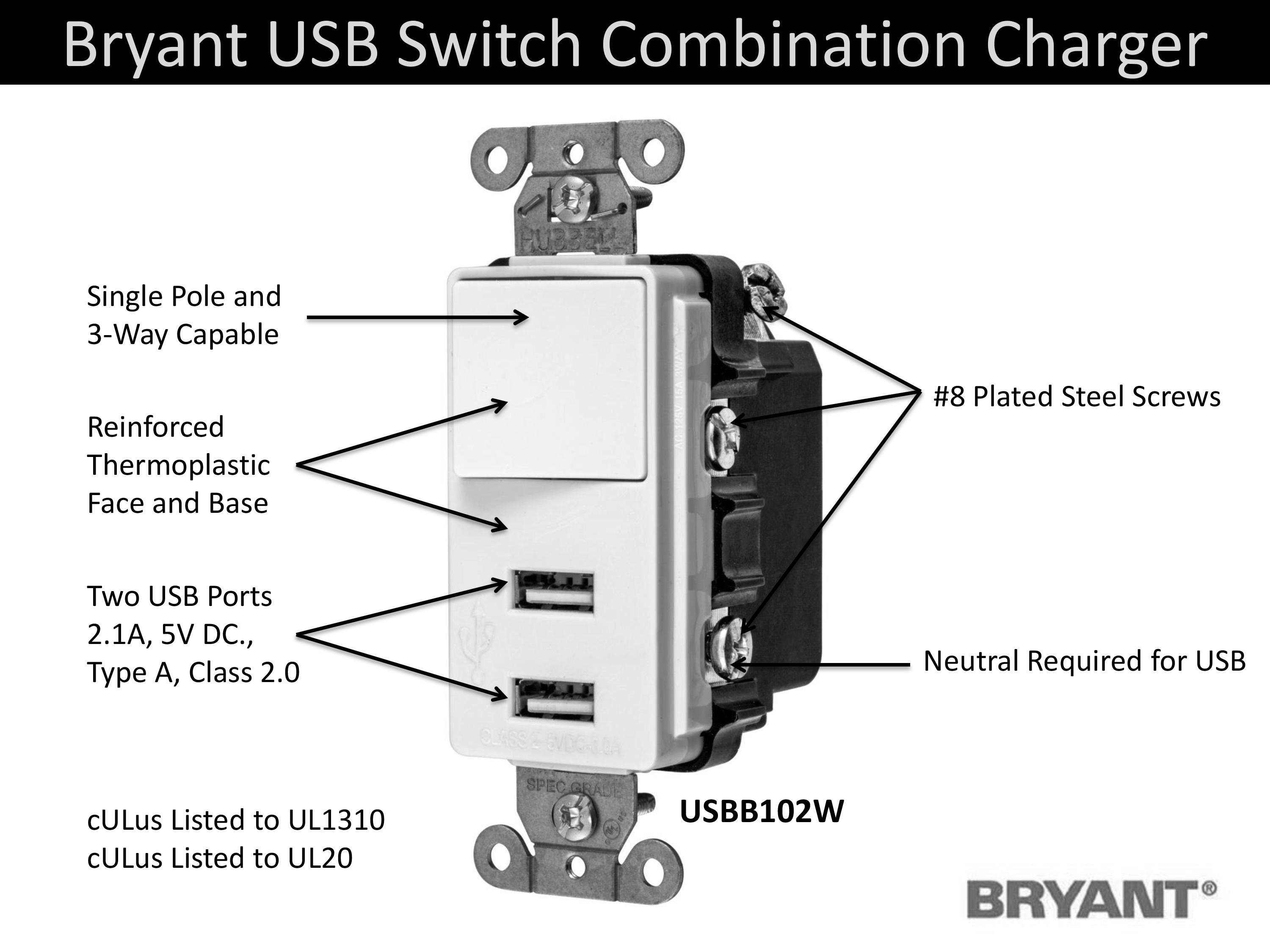 Bryant Electric Usbb102w 15 Amp 125v Decorator Usb Switch Volt Single Pole Wiring Two Switches Further 3 Way Toggle Add Charging In Locations Typically Reserved For