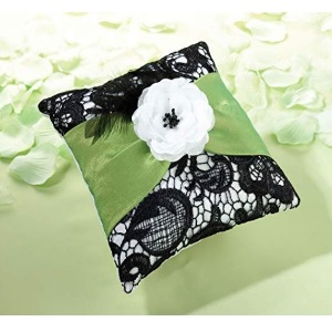 Green amp; Black Lace Flower Ring Pillow