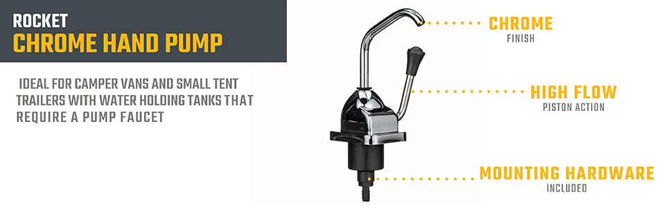 Valterra RP800 Chrome Rocket Hand Pump Faucet