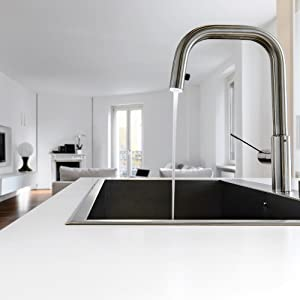 kitchen, stove, counter, sink, wash basin, tap, water, stove top
