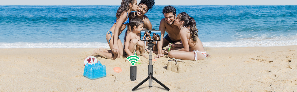 selfie stick tripod with bluetooth remote, snap wonderful moments, enjoy yourself with family.