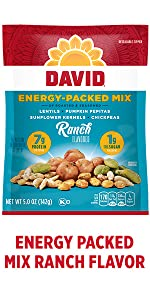 DAVIDs Ranch flavored energy boosting plant based snack mix