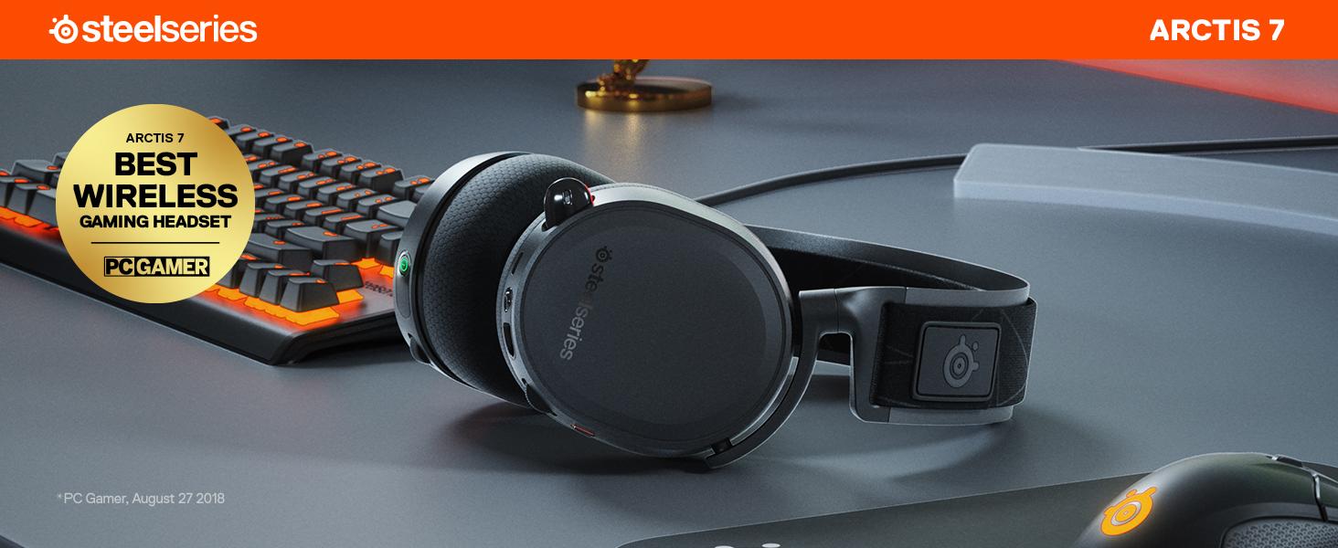 SteelSeries Arctis 7, Casque de Jeu sans Fil, Son Surround DTS Headphone:X v2.0, PC et PlayStation 4
