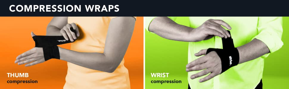 Strive compression wraps support therapy thumb wrist knee plantar fasciitis tennis elbow patella