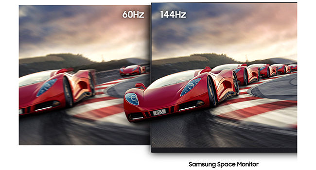 60Hz vs 144Hz comparison on a conventional monitor vs. Samsung The Space WQHD LED Monitor