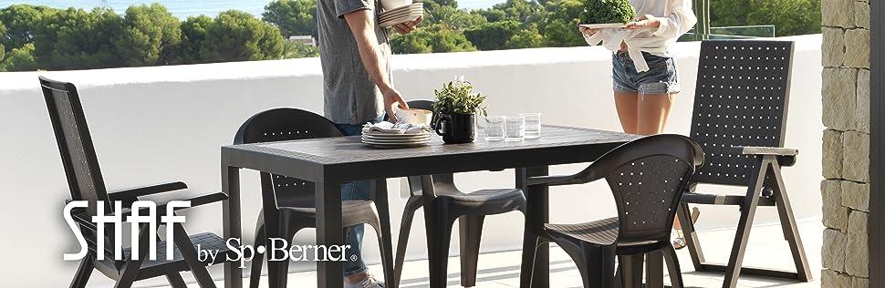 Sp berner - Dream wengue. mesa resina 140x85x73 cm: Amazon.es: Jardín