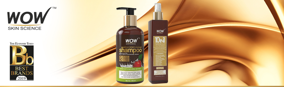 acv shampoo + wow 10 in 1 miracle oil hair revitalizer