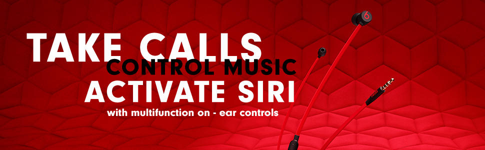 urBeats3, earphones, red and black headphones, earphone, music, in ear