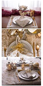christmas dinner napkins; christmas table; christmas dinner; christmas dinner sets; white christmas