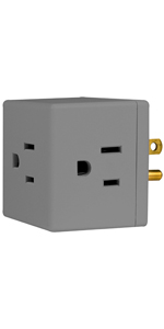 3 outlet outlets plug adapter wall tap extender