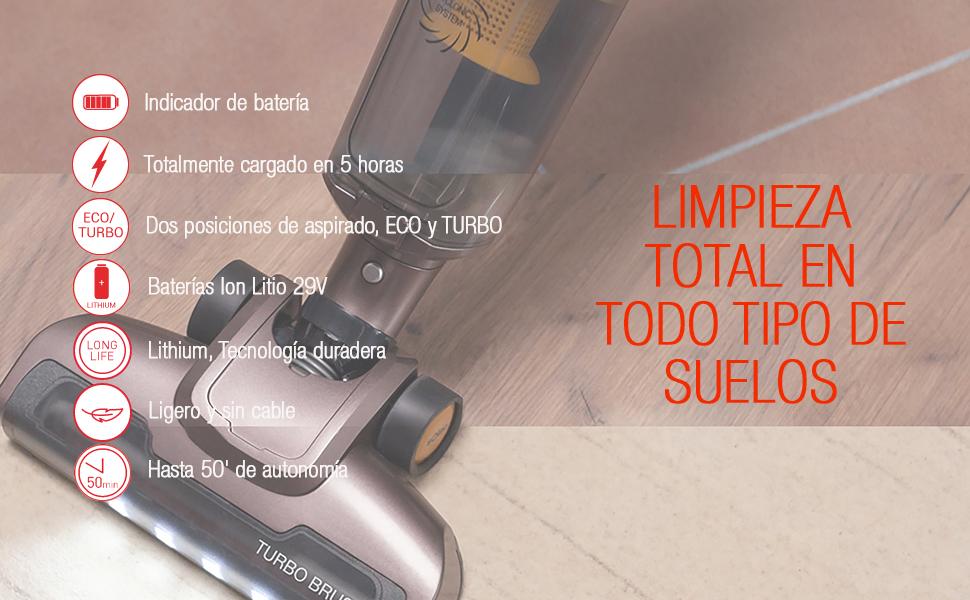 Solac AE2529 Turbobat Lithium 29V Escoba de Aspirar Potente de Gran Autonomía, Rojo y Gris: Amazon.es: Hogar