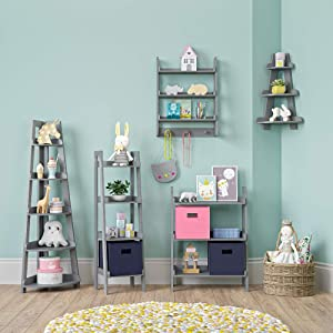 ladder shelf collection gray grey