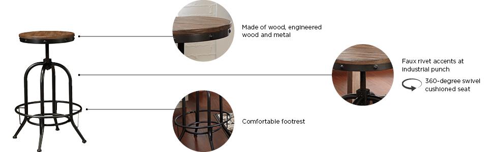 wood metal comfortable footrest 360 swivel