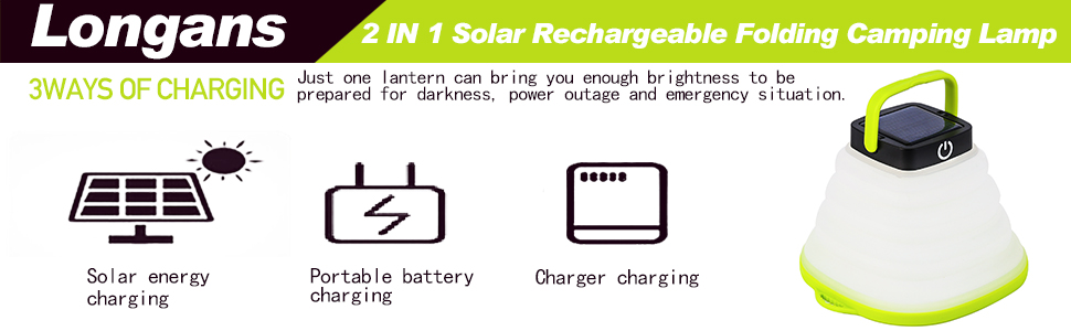 Solar Portable Led Camping Lantern Lights Outdoor -Tabletop Lantern  Rechargeable Emergency Light Collapsible Flashlight- Solar or USB  Chargeable for