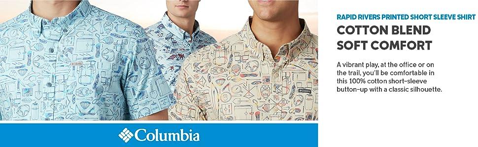 Columbia Men's Rapid Rivers Printed Short Sleeve Summer Shirt