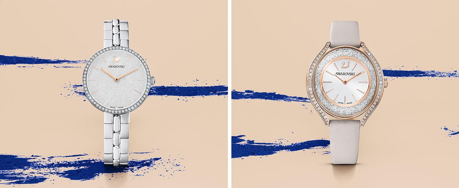 Amazon Com Swarovski Women S Era Journey Rose Gold Quartz Watch With Leather Strap Red 14 Model 5416701 Watches