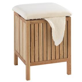 wenko 18614100 badhocker norway mit w schesammler wohnhocker massives holz walnussholz 39 x. Black Bedroom Furniture Sets. Home Design Ideas