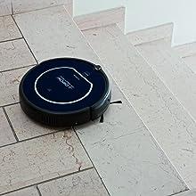 Gracias a los sensores que tiene el robot, este puede reconocer precipicios como escaleras o doble escalones para no sufrir ningún accidente.