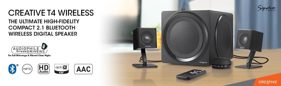 Bluetooth, con tecnolog/ía NFC Sistema de altavoces 2.1 Creative T4