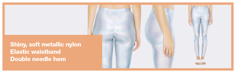 waistband, metallic leggings, american apparel