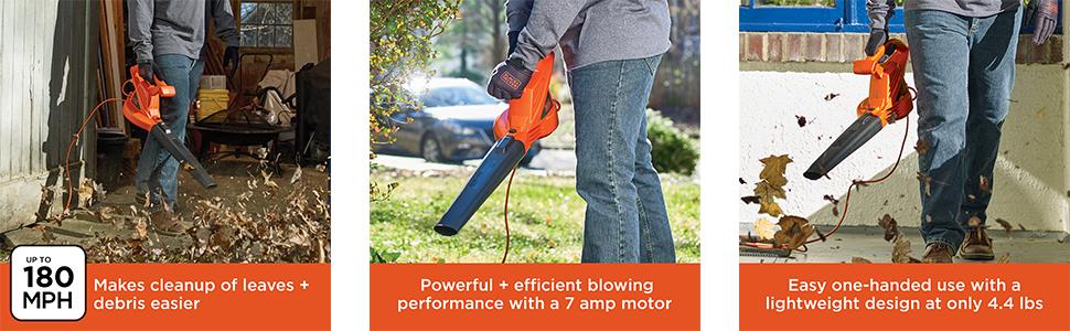 BLACK+DECKER Electric Leaf Blower, 7-Amp